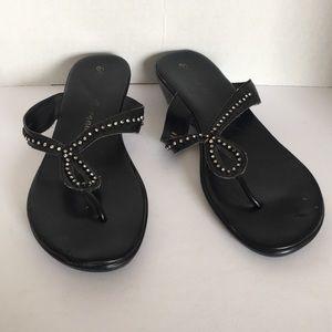 Athena Alexander black thong slippers 42 or 12 US
